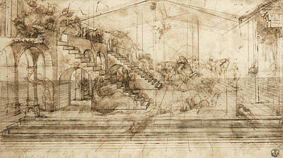 Drawing Drawing - Perspectival Study Of The Adoration Of The Magi by Leonardo da Vinci