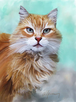 Cats And Dogs Digital Art - Pet Cat Portrait by Michael Greenaway