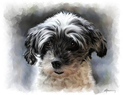 Pet Dog Portrait Art Print by Michael Greenaway