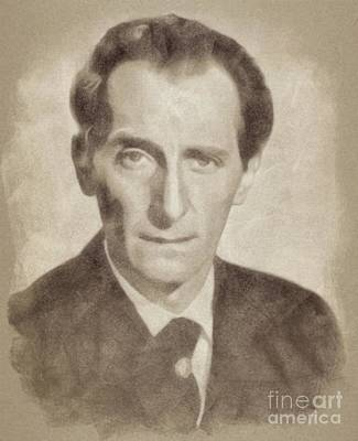 Musicians Drawings Rights Managed Images - Peter Cushing, Vintage Actor Royalty-Free Image by Esoterica Art Agency