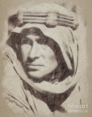 Musicians Drawings Rights Managed Images - Peter OToole as Lawrence of Arabia Royalty-Free Image by Esoterica Art Agency
