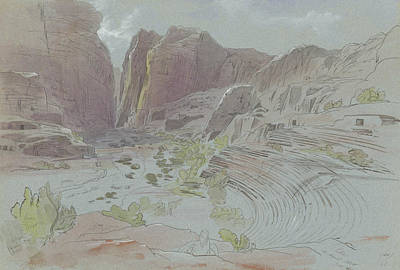 Petra Drawing - Petra, April 14, 1858 by Edward Lear