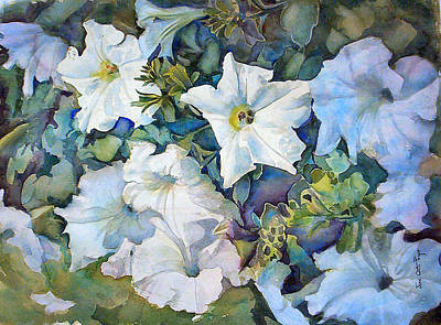 Painting - Petunias- One by June Conte Pryor