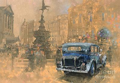 Car Wall Art - Painting - Phantom In Piccadilly  by Peter Miller
