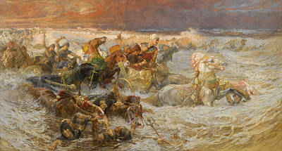 Painting - Pharaoh And His Army Engulfed By The Red Sea by Frederick Arthur Bridgman