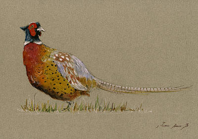 Neck Painting - Pheasant Bird Art by Juan  Bosco