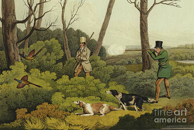 Pheasant Drawing - Pheasant Shooting by Henry Thomas Alken