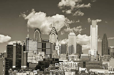 Phillies Digital Art - Philadelphia Cityscape In Sepia by Bill Cannon