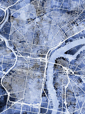 Philadelphia Pennsylvania City Street Map Art Print by Michael Tompsett