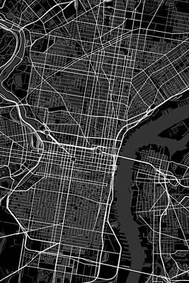 Modern Man Music - Philadelphia Pennsylvania USA Dark Map by Jurq Studio
