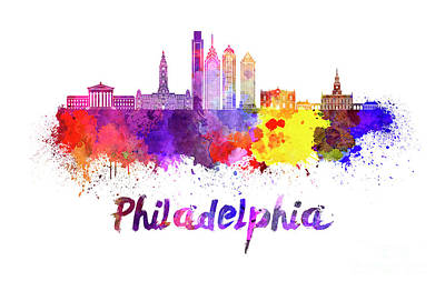 Philadelphia Skyline Painting - Philadelphia Skyline In Watercolor by Pablo Romero