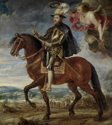 Belgium Painting - Philip II On Horseback by Peter Paul Rubens