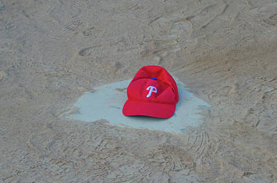 Baseball Photograph - Phillies Hat On Home Plate by Bill Cannon