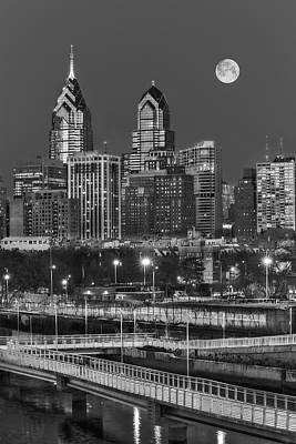 Philadelphia Photograph - Philly Skyline Full Moon by Susan Candelario