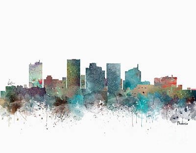Painting - Phoenix Arizona Skyline  by Bleu Bri