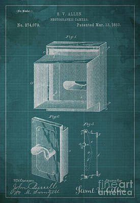 Vintage Camera Painting - Photographic Camera Patent Year 1883 by Drawspots Illustrations