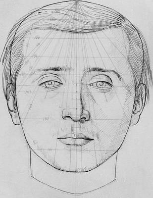 Thought Drawing - Phrenological Study by French School