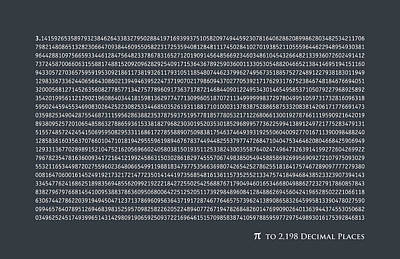 Pi To 2198 Decimal Places Print by Michael Tompsett