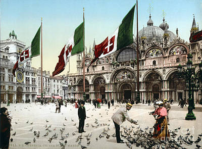 St. Marks Basilica Photograph - Piazza San Marco, 1890s by Science Source
