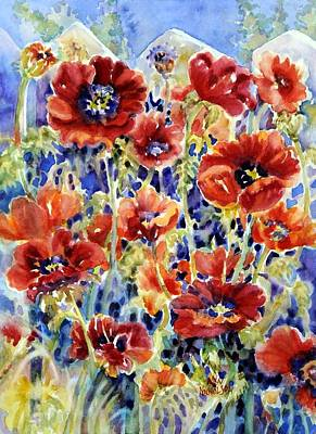 Painting - Picket Fence Poppies by Ann Nicholson