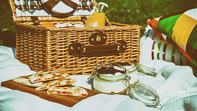 Picnic Basket With Fruits, Orange Juice, Croissants, Quesadilla And No Bake Blueberry And Strawberry Art Print