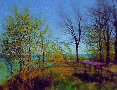 Digital Art - Picnic Table By The Lake by Anita Burgermeister