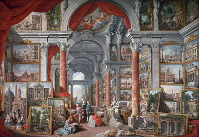Painting - Picture Gallery With Views Of Modern Rome  by Giovanni Paolo Panini