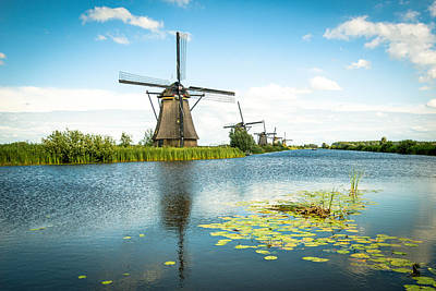 Print featuring the photograph Picturesque Kinderdijk by Hannes Cmarits