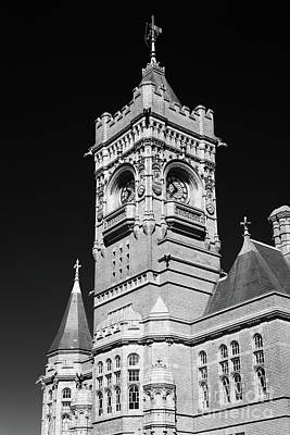 Photograph - Pierhead Building Cardiff Bay Monochrome by Steve Purnell