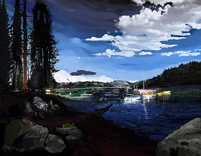 Osprey Painting - Pinecrest And Boats by Brad Burns