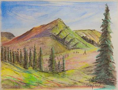 Pastel - Pines On The Hills by Betsy Carlson Cross