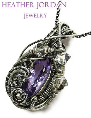 Sterling Silver Jewelry - Pink Amethyst Wire-wrapped Pendant Necklace In Antiqued Sterling Silver With Herkimer Diamonds by Heather Jordan