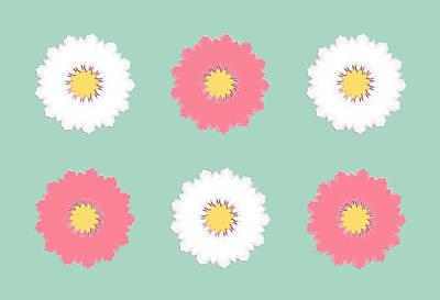 Digital Art - Pink And White by Elizabeth Lock