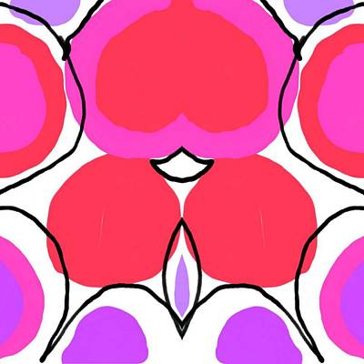 Hand Thrown Digital Art - Pink by Blue Doves