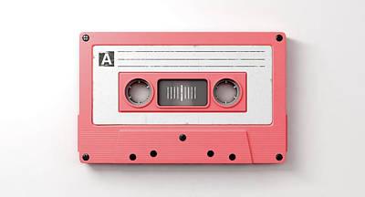 Cassettes Digital Art - Pink Cassette Mix Tape by Allan Swart