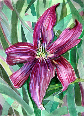 Day Lily Drawing - Pink Day Lily by Mindy Newman