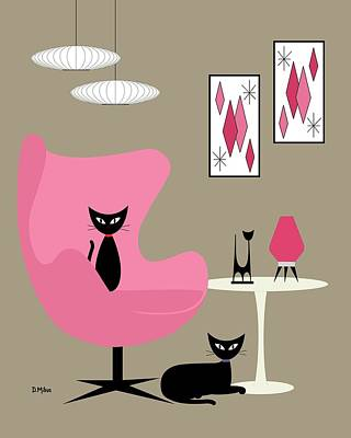 Digital Art - Pink Egg Chair With Two Cats by Donna Mibus