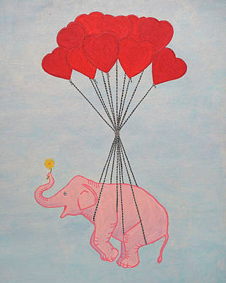 Painting - Pink Elephant With Blue Sky by Lone Quixote