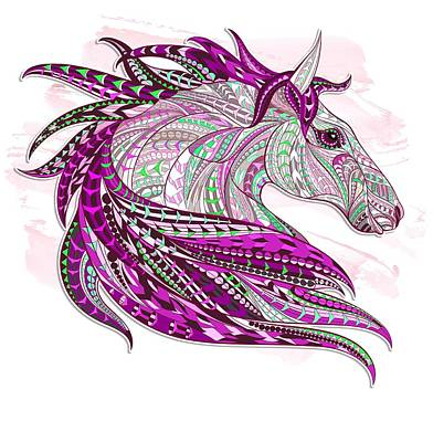 Painting - Pink Ethnic Horse by Aloke Creative Store