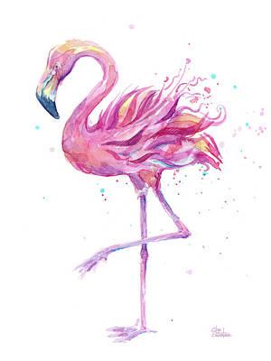 Painting - Pink Flamingo Watercolor by Olga Shvartsur