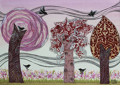 Bello Mixed Media - Pink Grove by Graciela Bello