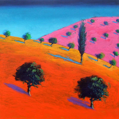Vivid Colour Painting - Pink Hill by Paul Powis