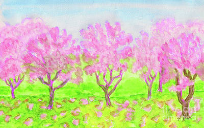 Painting - Pink Spring Garden, Watercolours by Irina Afonskaya
