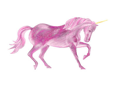Mixed Media - Pink Unicorn by Elizabeth Lock