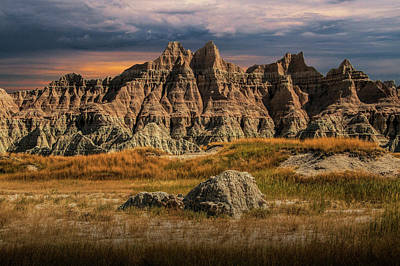 Pinnacles And Spires In The Badlands Art Print by Randall Nyhof