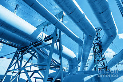 Electrical Photograph - Pipes At Thermal Electic Power Station by Michal Bednarek