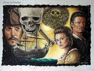 Orlando Bloom Painting - Pirates Of The Caribbean by Manfred Burgard