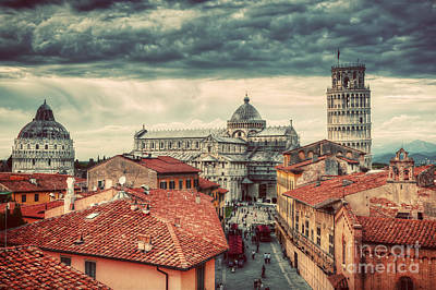 Photograph - Pisa Cathedral With The Leaning Tower Panorama. Unique Rooftop View by Michal Bednarek