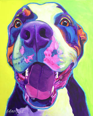 Dawgart Painting - Pit Bull - Mayhem by Alicia VanNoy Call