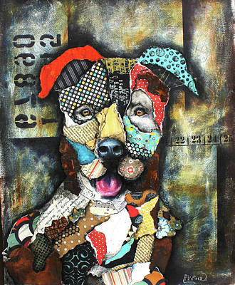 Mixed Media - Pit Bull by Patricia Lintner